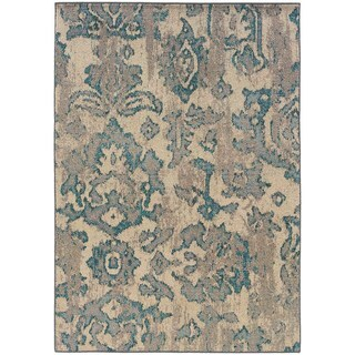 Distressed Floral Ivory/ Blue Rug (6'7 x 9'1)