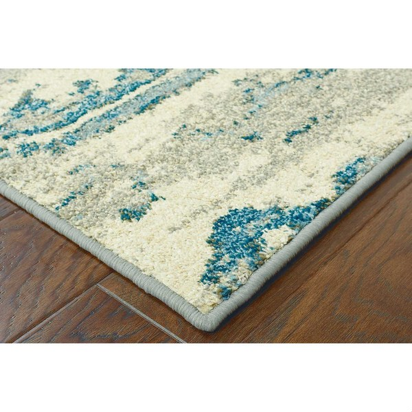 Distressed Floral Ivory Blue Rug 9 9 X 12 2 Free