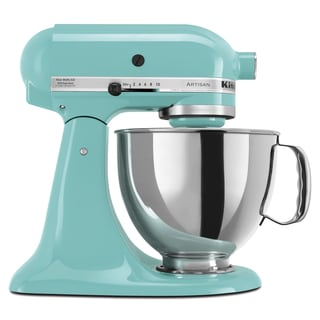 kitchenaid rrk150aq aqua sky 5 quart artisan tilt head stand mixer  refurbished  blue kitchen appliances for less   overstock com  rh   overstock com