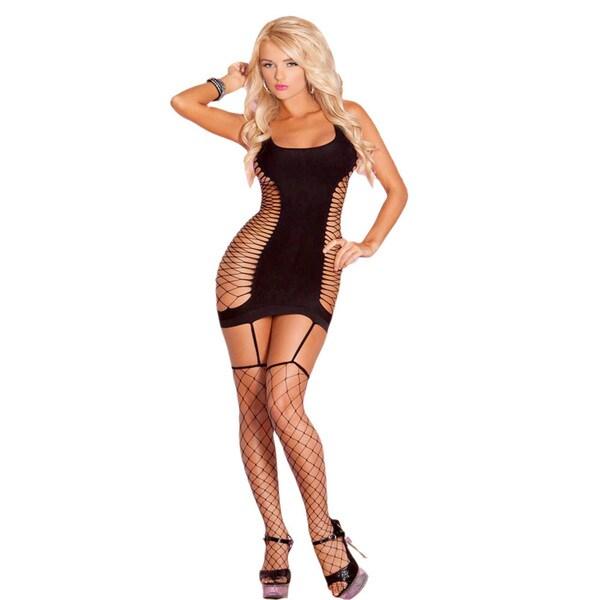 Pink Lipstick Black Platinum Side Net Garter Dress
