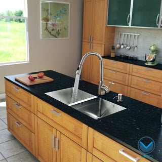 VIGO All-in-One 29-inch Stainless Steel Undermount Kitchen Sink and Aylesbury Stainless Steel Faucet Set