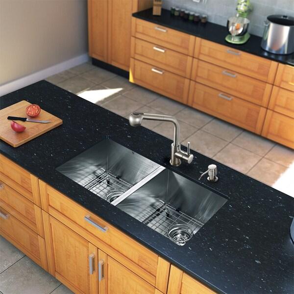 Vigo All In One 32 Suffolk Stainless Steel Double Bowl Undermount Kitchen Sink Set With