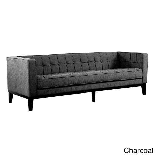 Attirant Roxbury Tufted Microfiber Mid Century Style Sofa