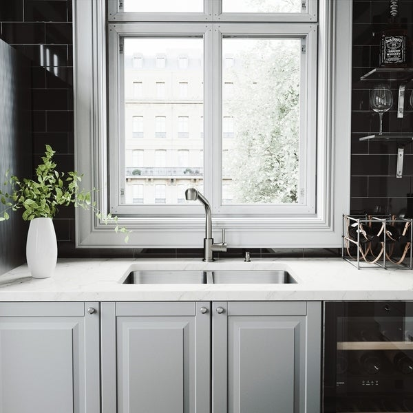 VIGO Newhall Double Bowl Kitchen Sink and Avondale Pull-out Faucet Set