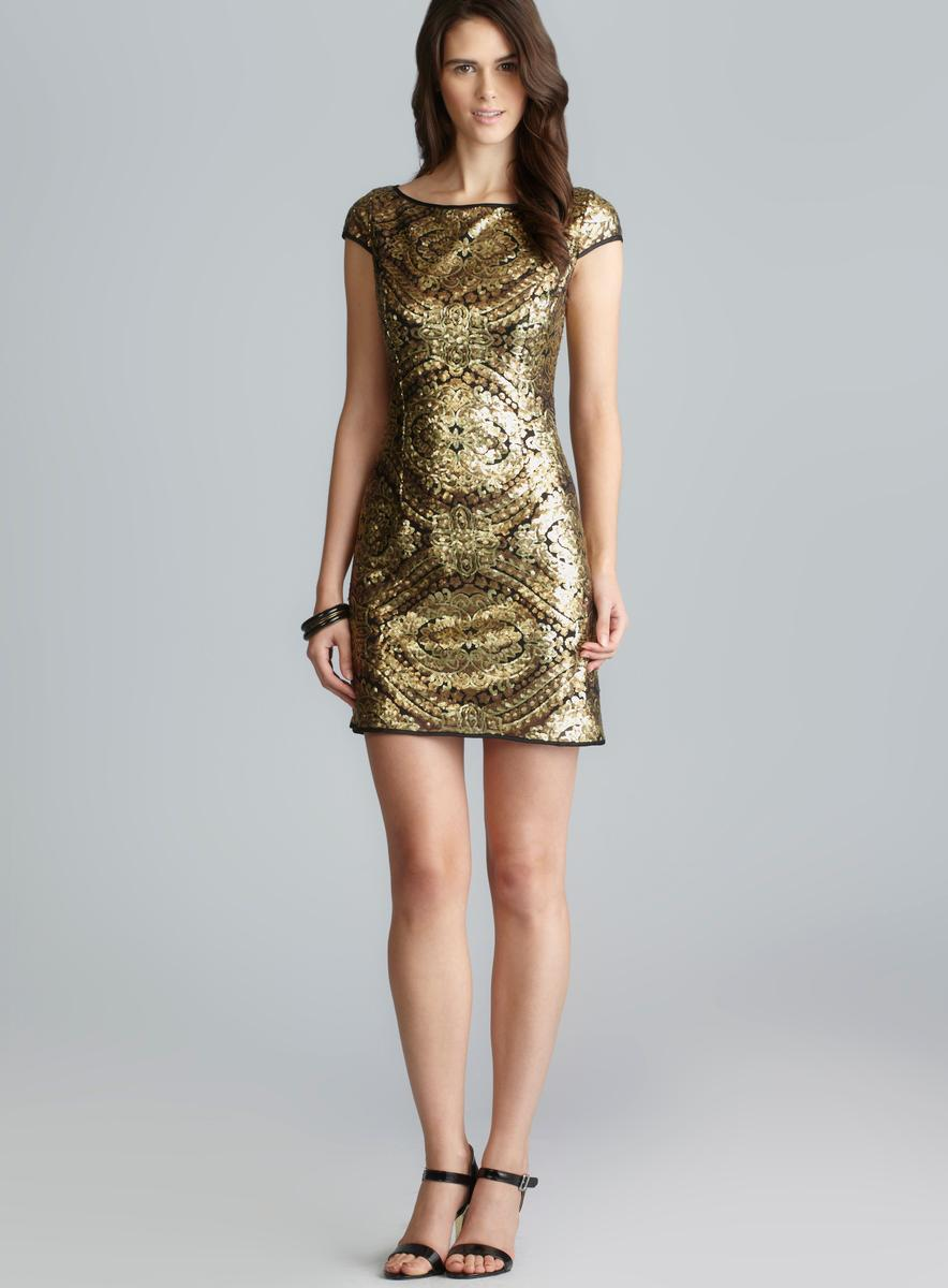 Adrianna Papell Cap Sleeve Metallic Sequin Shift Dress - Free ...