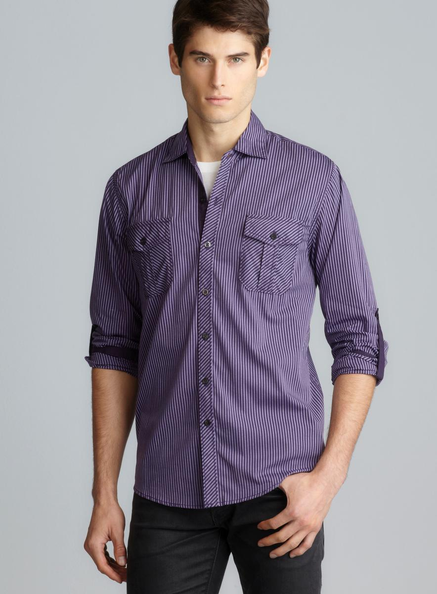 Michael Brandon Tabbed Sleeve Button Down Shirt