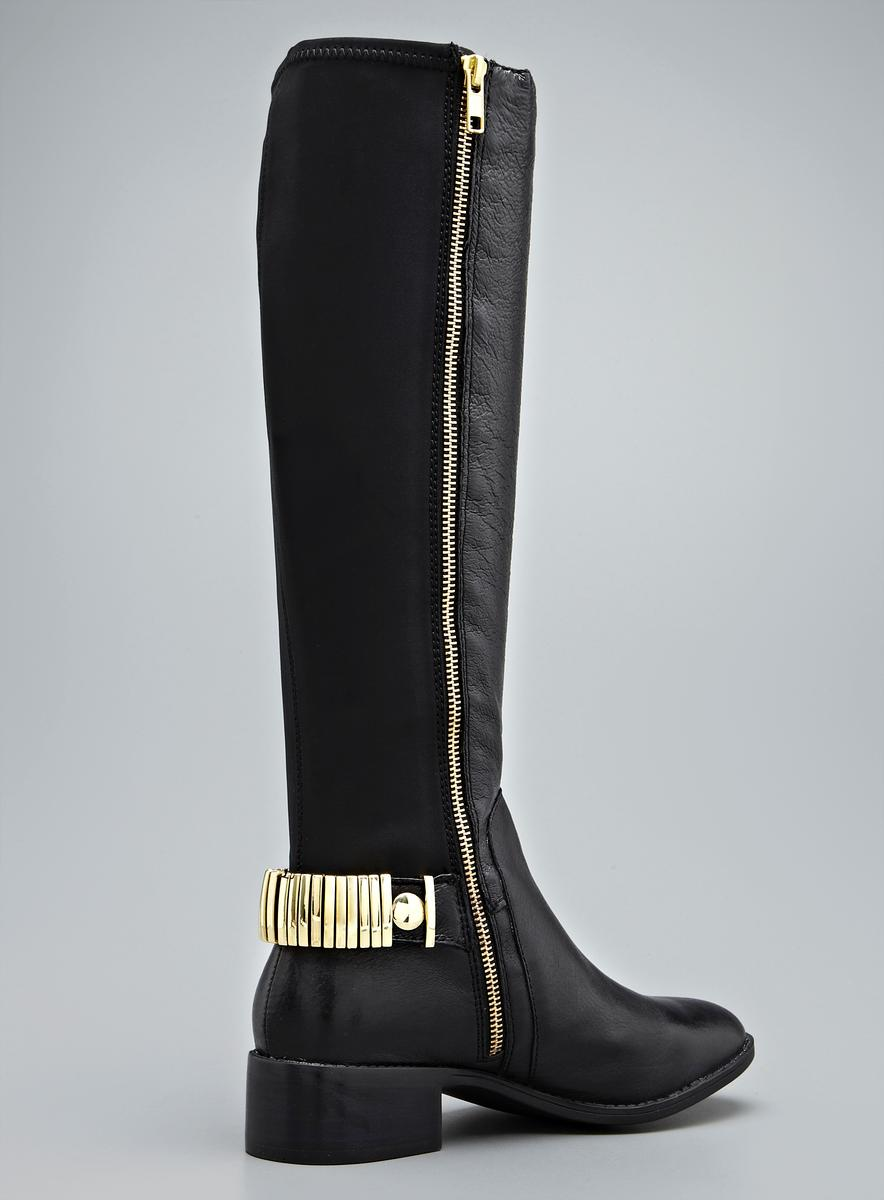 Steve Madden Regina Gold Hardware Detail Leather Contrast Boot ...