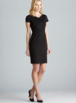 Tahari V-Neck Cap Sleeve Exposed Seam Back Slit Dress