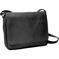 Women's Royce Leather Vaquetta Shoulder Bag with Flap Black