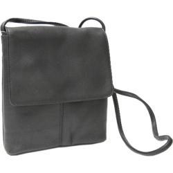 Women's Royce Leather Vaquetta Small Flap Over Crossbody Bag Black