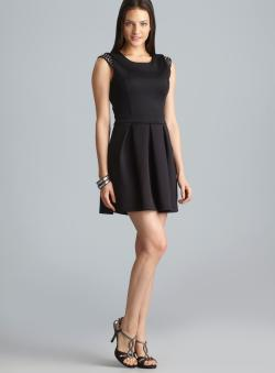 Romeo & Juliet Couture Studded Cap Sleeve Back Cutout Ponte Dress