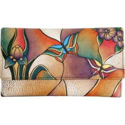Women's ANNA by Anuschka Ladies Clutch Wallet Butterfly Glass Painting