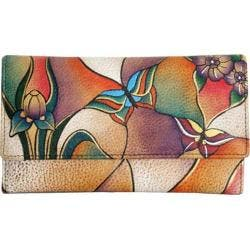 Women's ANNA by Anuschka Ladies Clutch Wallet Butterfly Glass Painting|https://ak1.ostkcdn.com/images/products/83/597/P15956176.jpg?impolicy=medium