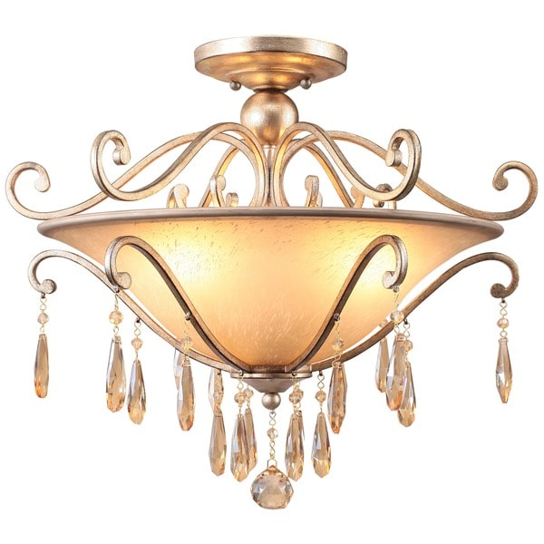 Crystorama Shelby Collection 3-light Destressed Twilight Semi-flush Mount