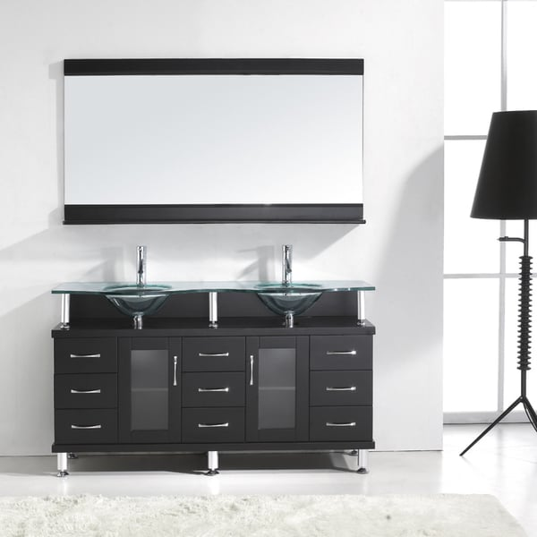 Superb Virtu USA Vincente Rocco 59 Inch Double Sink Bathroom Vanity Set   Free  Shipping Today   Overstock.com   15617737