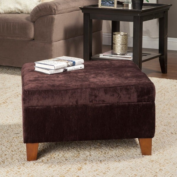 HomePop Dark Brown Oversized Cocktail Storage Ottoman