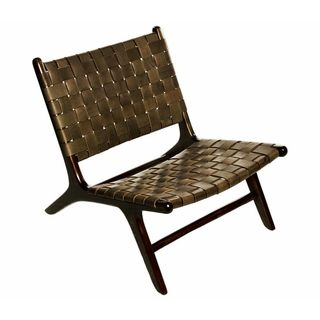 Shop Woven Leather Lounge Chair Free Shipping Today
