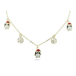 Junior Jewels 18k Gold Overlay Children's Penguin and Snowflake Necklace