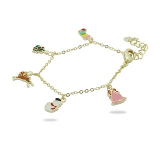Junior Jewels 18k Gold Overlay Children's Christmas Cheers Bracelet