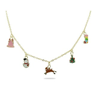 Junior Jewels 18k Gold Overlay Children's Christmas Cheers Necklace