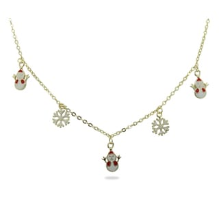 Junior Jewels 18k Gold Overlay Children's Snowman and Snowflake Necklace