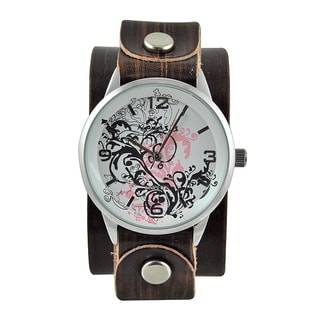 Nemesis Women's 'Plant Art' Leather Strap Watch