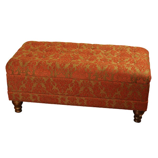 Red Tufted Chenille Storage Bench