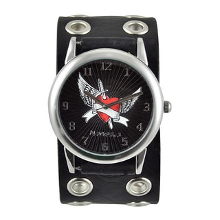 Nemesis Men's 'Wing Heart' Black Dial Watch