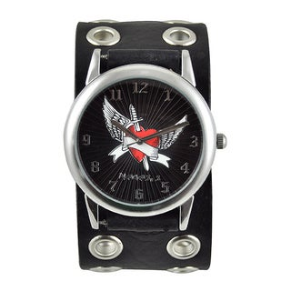 Nemesis Men's 'Wing Heart' Black Dial Watch