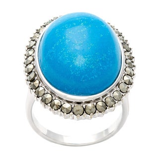 Silvermoon Sterling Silver Turquoise and Marcasite Ring
