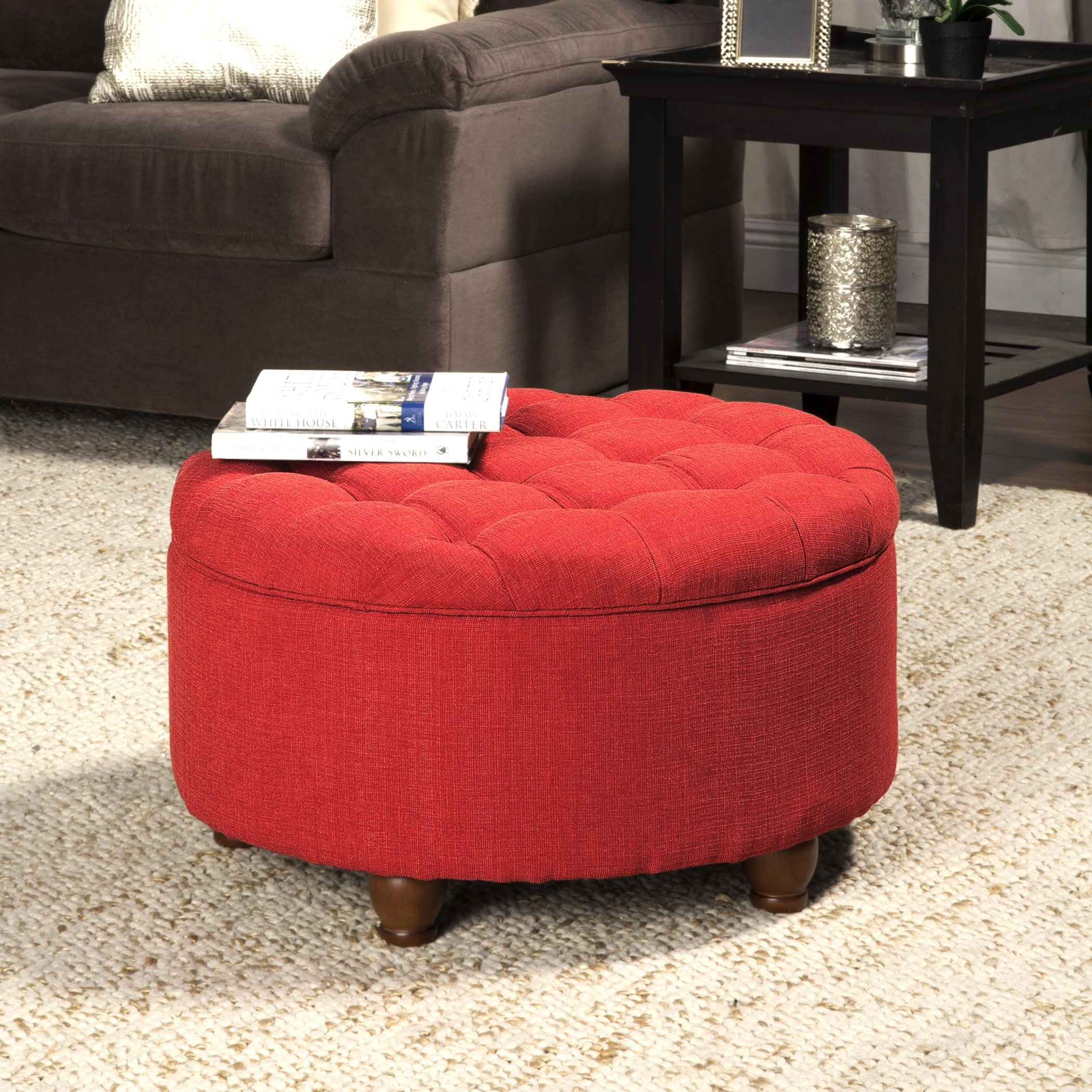 Astounding Porch Den Leaf Red Tufted Round Cocktail Storage Ottoman Pabps2019 Chair Design Images Pabps2019Com