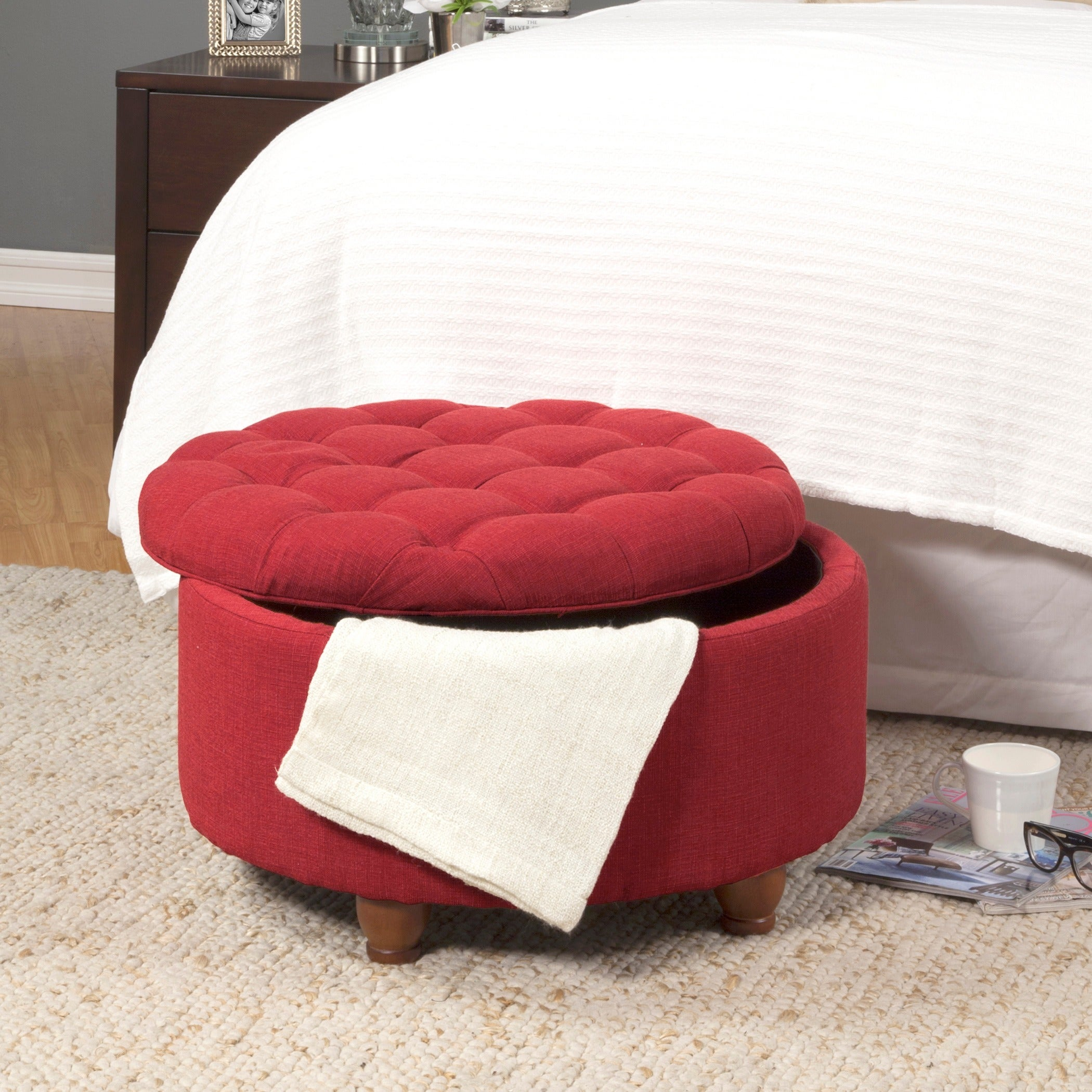Amazing Porch Den Leaf Red Tufted Round Cocktail Storage Ottoman Pabps2019 Chair Design Images Pabps2019Com