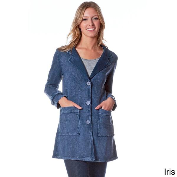 AtoZ Women's Antique Wash Denim Button-front Jacket