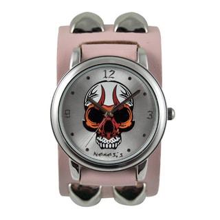 Nemesis Women's 'Flaming Skull' Leather Strap Watch