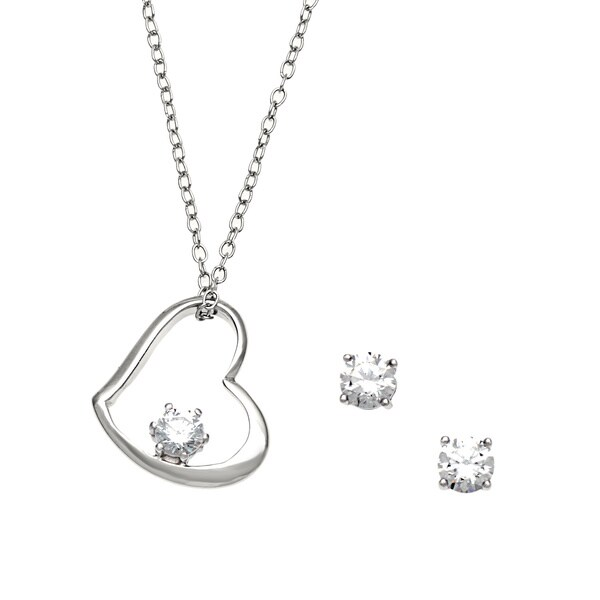 Sunstone Sterling Silver Heart Jewelry Set made with Swarovski Zirconia with Gift Box