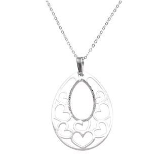 La Preciosa Sterling Silver Diamond-cut Heart Necklace