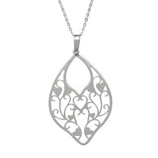 La Preciosa Sterling Silver Vine and Heart Design Necklace