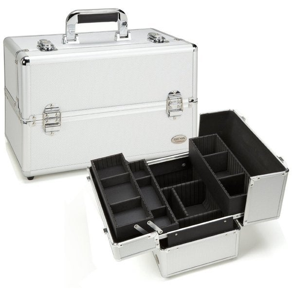 Seya Silver Aluminum Professional Makeup Case with 3 Trays