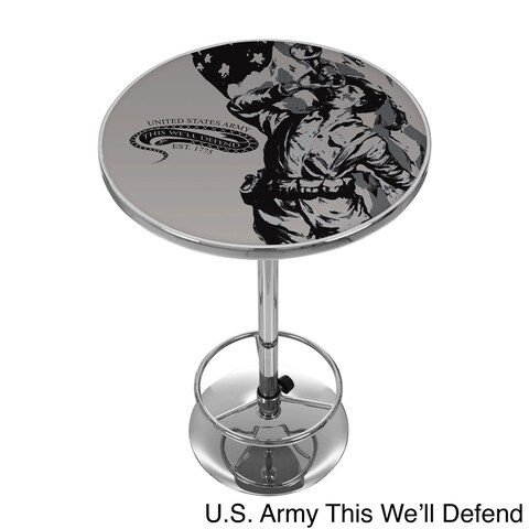 U.S Army Chrome Adjustable Height Pub Table