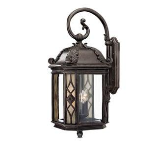 Wall-mount 4-light Outdoor Marbleized Mahogany Light Fixture