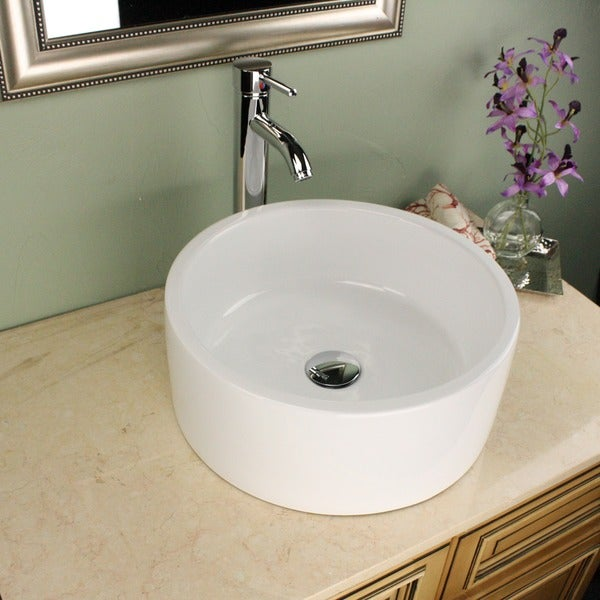 Highpoint Collection White 16 Inch Round Ceramic Bathroom Vessel Sink