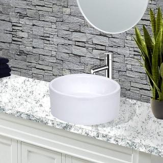Highpoint Collection White 16-inch Round Ceramic Bathroom Vessel Sink