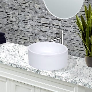 Highpoint Collection White 16-inch Round Ceramic Bathroom Vessel Sink
