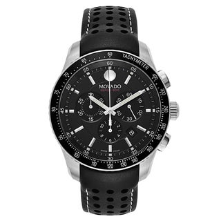 Movado Men's 2600096 42mm Chronograph Date Black Leather Band Watch