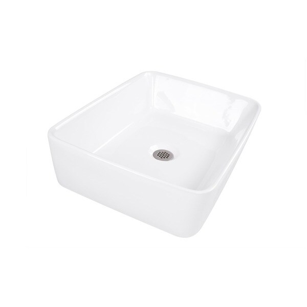 Highpoint Collection 19 Inch White Rectangular Bathroom Vessel Sink Without  Overflow   Free Shipping Today   Overstock.com   15618153