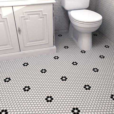 """SomerTile Metro Hex Matte White with Single Flower 10.25""""x11.88"""" Porcelain Mosaic Floor and Wall Tile"""