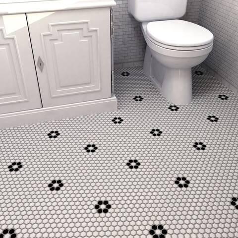 "SomerTile Metro Hex Matte White with Single Flower 10.25""x11.88"" Porcelain Mosaic Floor and Wall Tile (10 tiles/8.65 sqft.)"