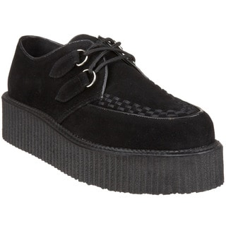 Demonia Men's 'V-Creeper-502S' Black Suede Lace-up Creeper Shoes