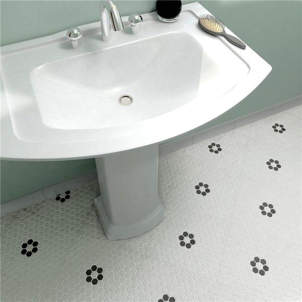 SomerTile 10.25x11.88-inch Manhattan Hex White and Flower Unglazed Porcelain Mosaic Floor Tile (10 tiles/8.65 sqft.)