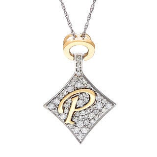 D'sire 14k Gold 3/8ct TDW Diamond Initial 'P' Necklace (H-I, SI1-SI2)